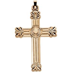 14K Yellow Gold Fancy Cross Pendant