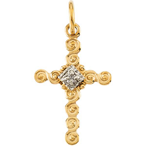 14K Gold Child's Cross Pendant with Diamond
