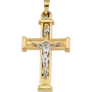 14K Yellow Gold/White Two Tone Crucifix Pendant