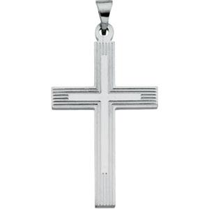 14K White Gold Extra Heavy Cross Pendant
