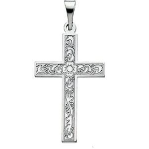 14K White Gold Cross Pendant with Design