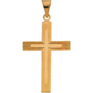 14K Yellow Gold Cross Pendant with Design