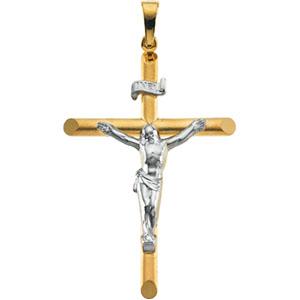 14K Yellow Gold/White Two Tone Crucifix Pendant