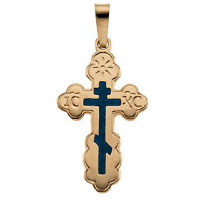 14K Yellow Gold Orthodox Cross Pendant with Blue