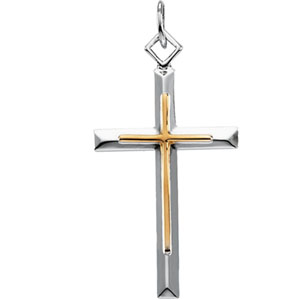 SS_YGF Two Tone Cross Pendant