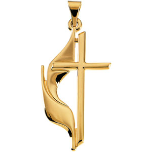 14K Yellow Gold Methodist Cross Pendant