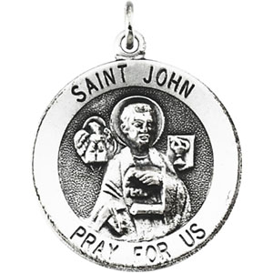 Sterling Silver Round St John Pendant Pendant with Chain