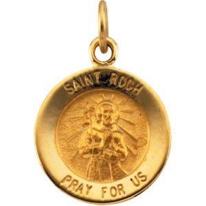 14K Yellow Gold St.Roch Pendant