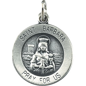 Sterling Silver Round St. Barbara Pendant Pendant with Chain