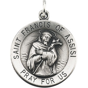 Sterling Silver Round St.Frncis Of Assisi Pendant Pendant with Chain