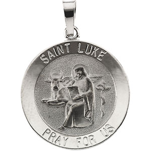 14K White Gold St.Luke Pendant