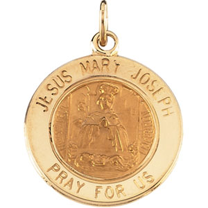 14K Yellow Gold Jesus,Mary,Joseph Pendant
