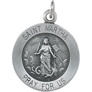Sterling Silver Round St Martha Pendant Pendant with Chain