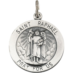 Sterling Silver St. Raphael Pendant with Chain