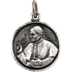 Sterling Silver Round Pope John Paul Pendant Pendant with Chain