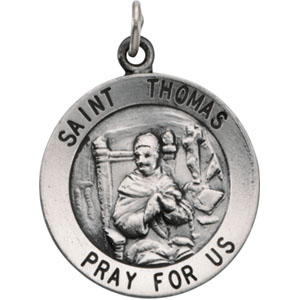 Sterling Silver Round St Thomas Pendant Pendant with Chain