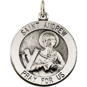 Sterling Silver Round St Andrew Pendant Pendant with Chain