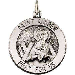 14K White Gold St. Andrew Pendant