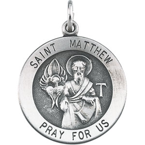 Sterling Silver St.Matthew Pendant with Chain
