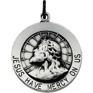 Sterling Silver Round Jesus Have Mercy Pendant Pendant with Chain
