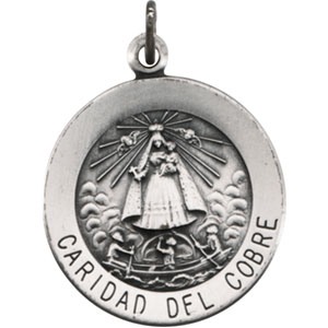 Sterling Silver Round Caridad Del Cobre Pendant Medl with Chain
