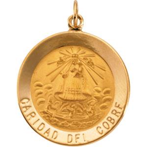 14K Yellow Gold Caridad Del Cobre Pendant