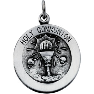 Sterling Silver Round Holy Communion Pendant Pendant with Chain