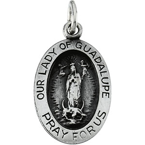 Sterling Silver Oval Lady Of Guadalupe Pendant Pendant with Chain