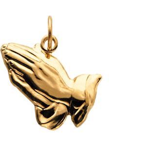 14K Yellow Gold Praying Hands Pendant