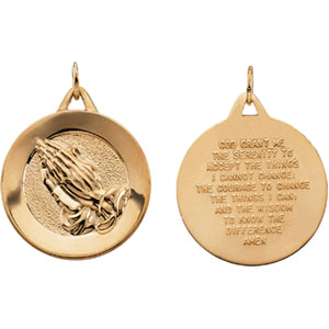 14K Yellow Gold Disc with Praying Hands Pendant