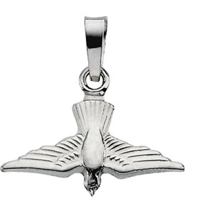 14K White Gold Holy Spirit Pendant