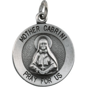 Sterling Silver Round Mother Cabrini Pendant Pendant with Chain