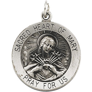 Sterling Silver Round Sacred Heart Of Mary Pendant Pendant with Chain