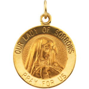 14K Yellow Gold Our Lady Of Sorrows Pendant