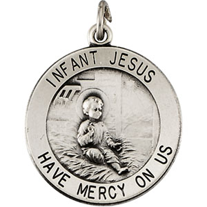 Sterling Silver Round Infant Jesus Pendant Pendant with Chain