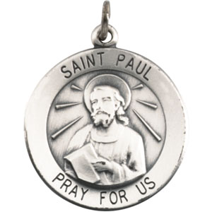 Sterling Silver Round St Paul Pendant Pendant with Chain
