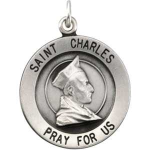 Sterling Silver Round St. Charles Pendant Pendant with Chain