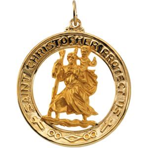 14K Yellow Gold St. Christopher Pendant