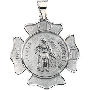 14K White Gold St Florian Pendant Pendant Shield
