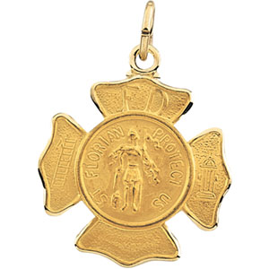 14K Yellow Gold St Florian Pendant