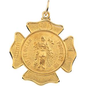 14K Yellow Gold St Florian Pendant