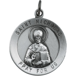 Sterling Silver Round St. Nicholas Pendant Pendant with Chain