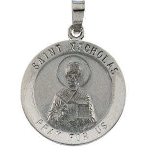 14K White Gold Round St Nicholas Pendant Pendant