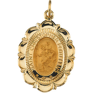 14K Yellow Gold St.Christopher Pendant