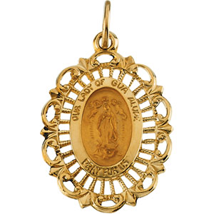 14K Yellow Gold Lady Of Guadalupe Pendant