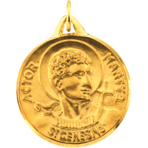 14K Yellow Gold St.Genesius Pendant