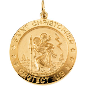 Yellow Gold Filled St. Christopher Pendant