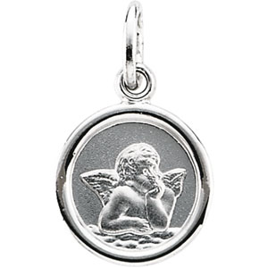 14K White Gold Round Angel Pendant Pendant