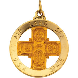 14K Yellow Gold St. Christopher 4-Way Air Land