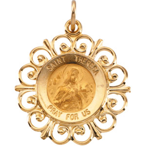 14K Yellow Gold St. Theresa Pendant